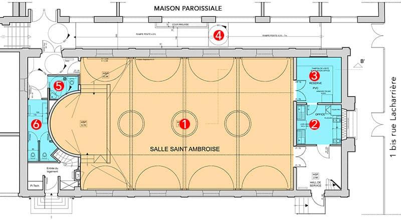 Plan de la salle Saint-Ambroise