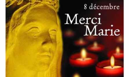Bougie à nos fenêtres, le 8 décembre, pour Marie