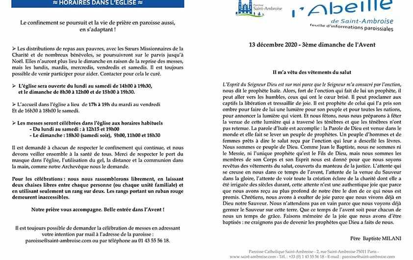 Feuille paroissiale n° 46 du 13 décembre 2020