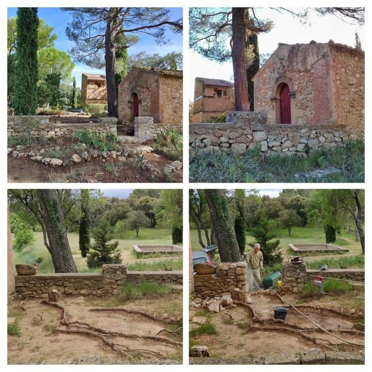 Etat avant et après travaux de réouverture du muret.
