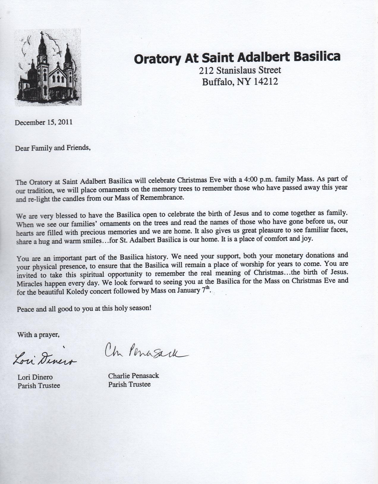 Saint Adalbert'S 2011 Christmas Letter – Saint Adalbert Basilica