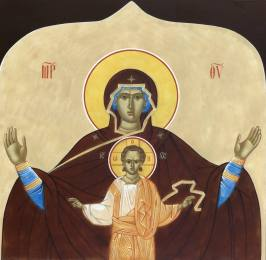 """The Most Holy Theotokos, """"She Who Is Wider than the Heavens."""" Icon above the monastery gate."""