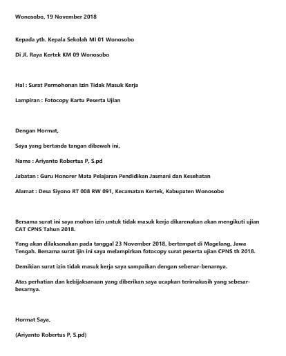 20 Contoh Surat Izin Tidak Masuk Kerja Untuk Berbagai Keperluan