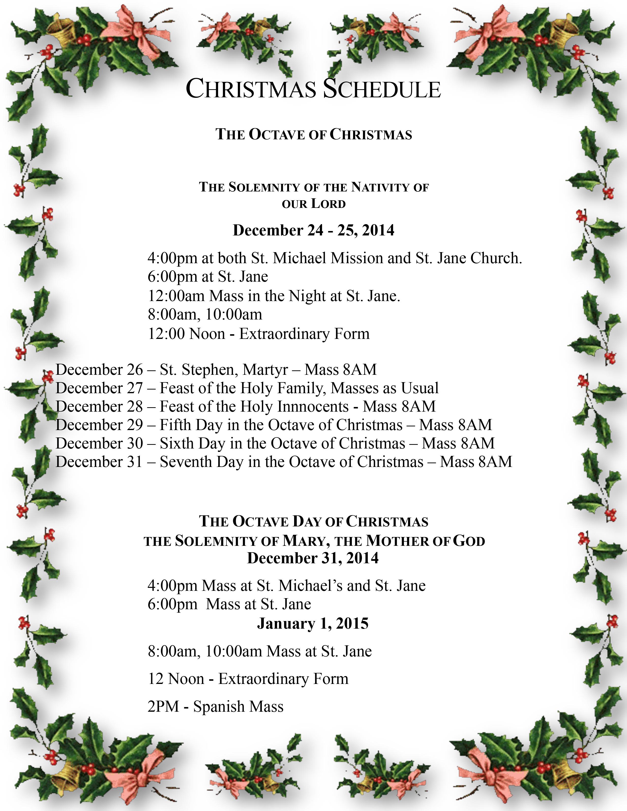 The Christmas Schedule | St. Jane de Chantal Parish