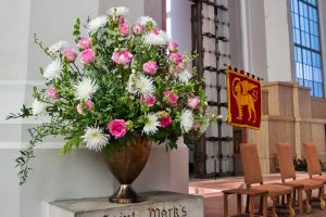 Flowers in memory of the Rev. Mike Jackson