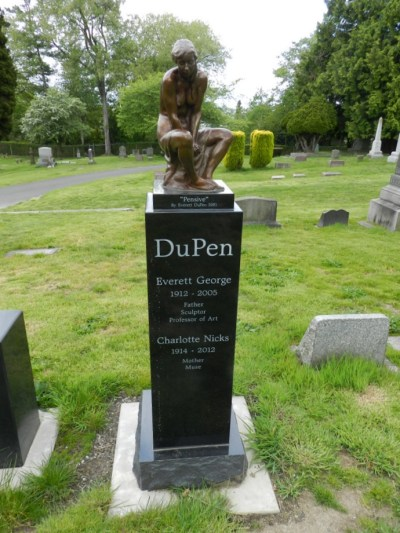The grave of Everett DuPen, located a stone's throw from Saint Mark's in Lakeview Cemetery