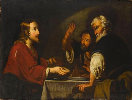 Bernardo Strozzi-Le Christ à Emmaus-Huile sur toile-XVIIs-Staatsgalerie-Stuttgart