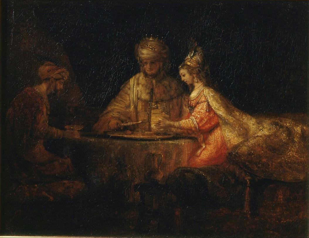 Assuerus, Haman et Esther, Rembrandt, 1660