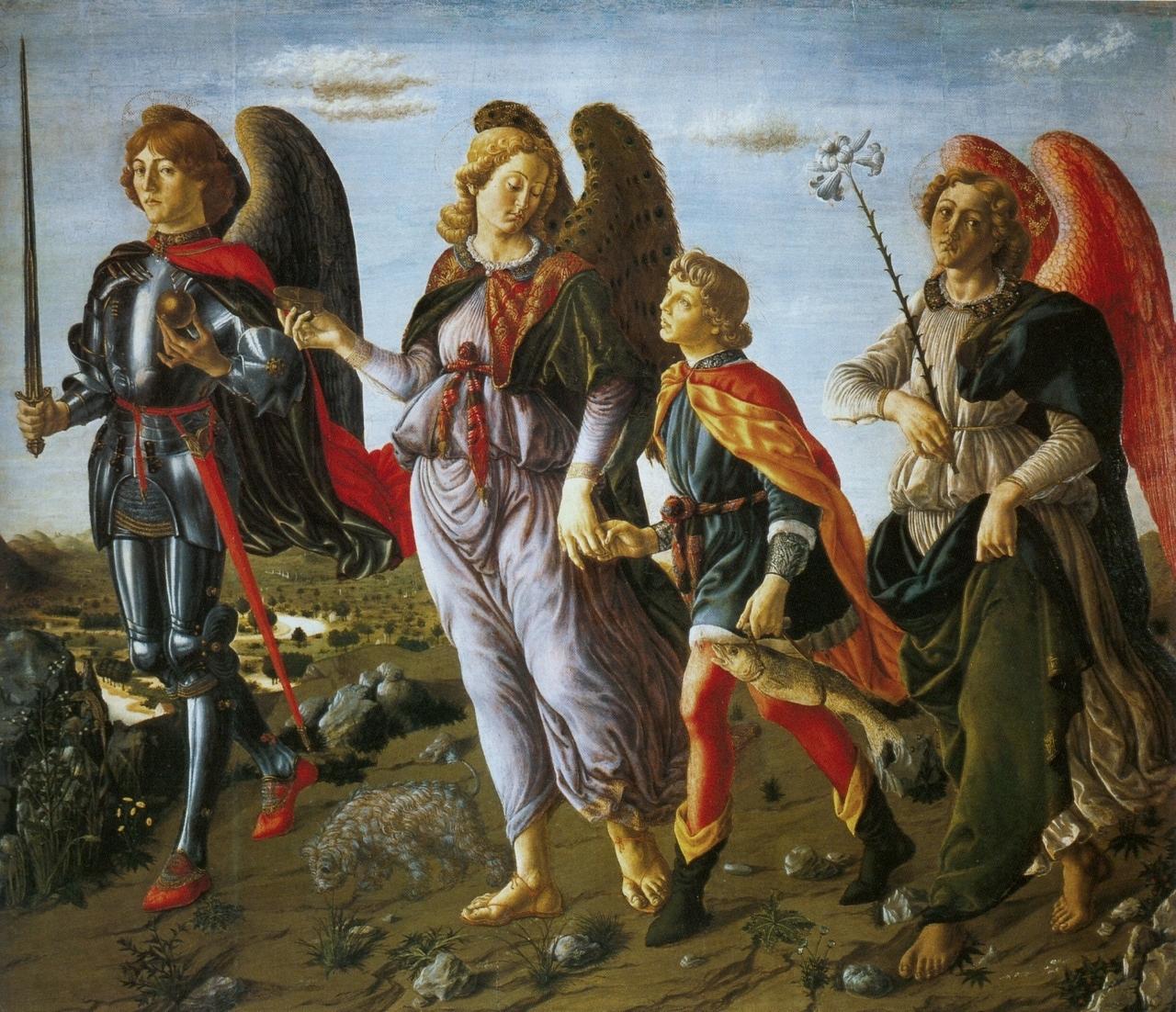 Francesco Botticini, Tobias et les trois archanges, détrempe sur bois (134 x 153 cm), vers 1467, Galleria degli Uffizi, Florence