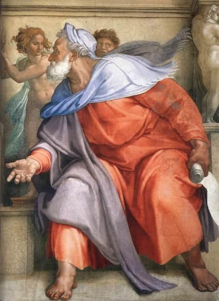 Michel-Ange, Le prophète Ézéchiel, fresque, 1511 ca., Chapelle Sixtine, Rome