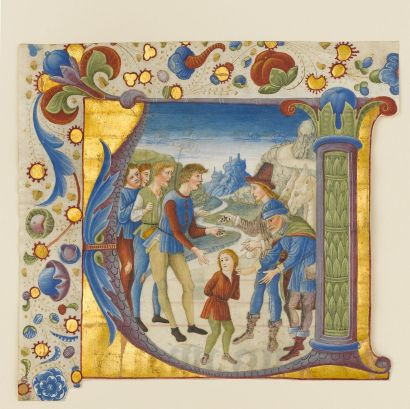 Giovanni P. da Cemmo, Joseph vendu par ses frères, enluminure, ca 1490 , Metropolitan NY
