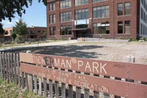 The defaced sign symbolizes the status of Dickerman Park.