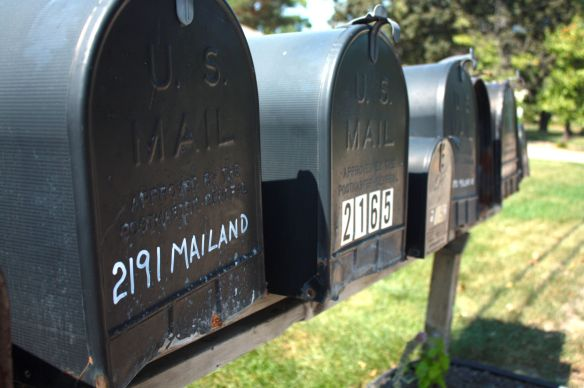 Mailand Road mailboxes. While neither snow nor rain nor heat nor gloom of night will stop the U.S. Postal Service, Mailand Road does.