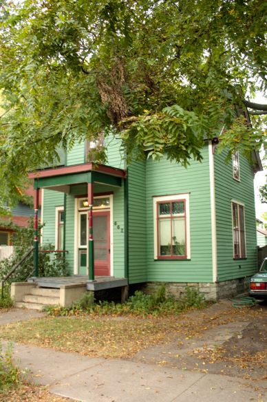 The Sea Foam Green house at 661 Hague is one of three smaller Victorian homes on this block built around 1880.