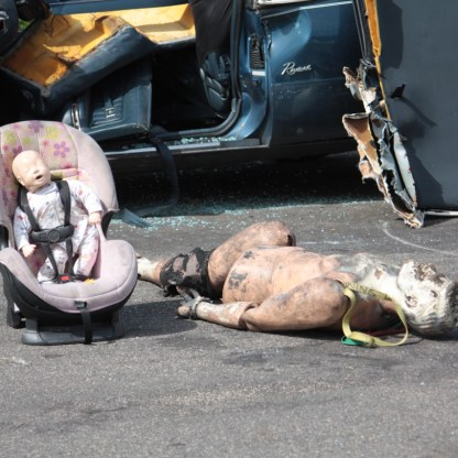 The male dummy on the right is lead filled and weighs 200 pounds when fully intact.