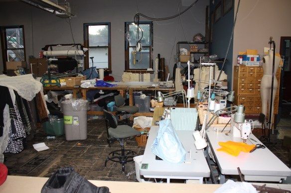 The sewing area in Laura's lower level.