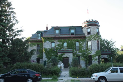 The castle-like Lasher-Newell House at 251 Dayton Avenue.