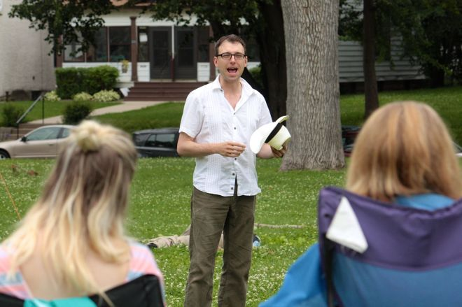 """Joseph Papke provided the audience with some background about """"Love's Labor Lost""""."""