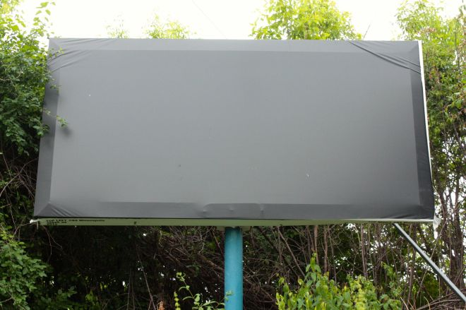 A billboard at St. Anthony Avenue and Prior Avenue awaits its official unveiling.
