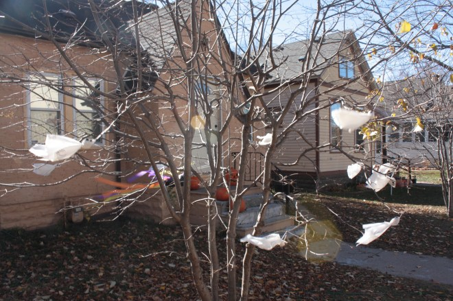 Still on Lafond, ghosts fly about the nearly leafless tree at 1306 Lafond.)