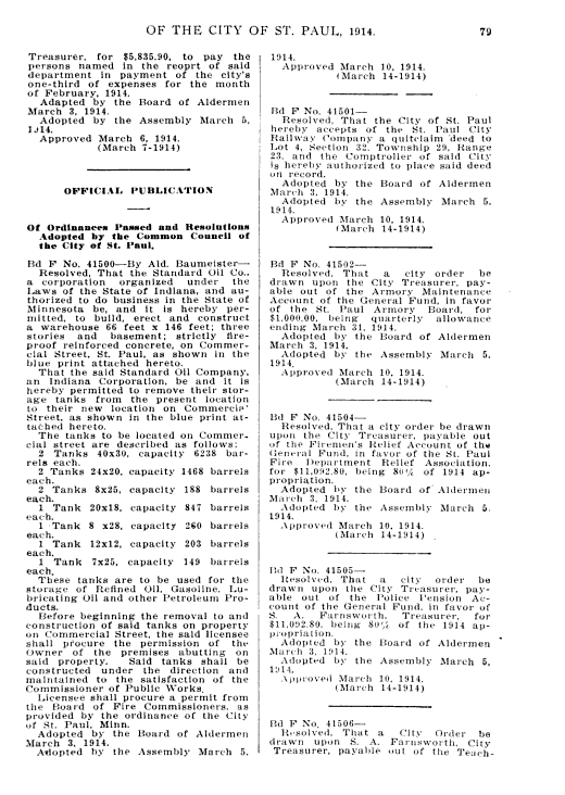 Standard Oil warehouse ordinance 1914