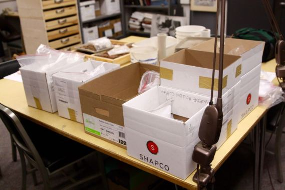 Several boxes of specimens are kept in a lab at the U of M.
