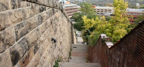Looking down the Walnut Street Steps you can see United Hospital and related medical buildings.
