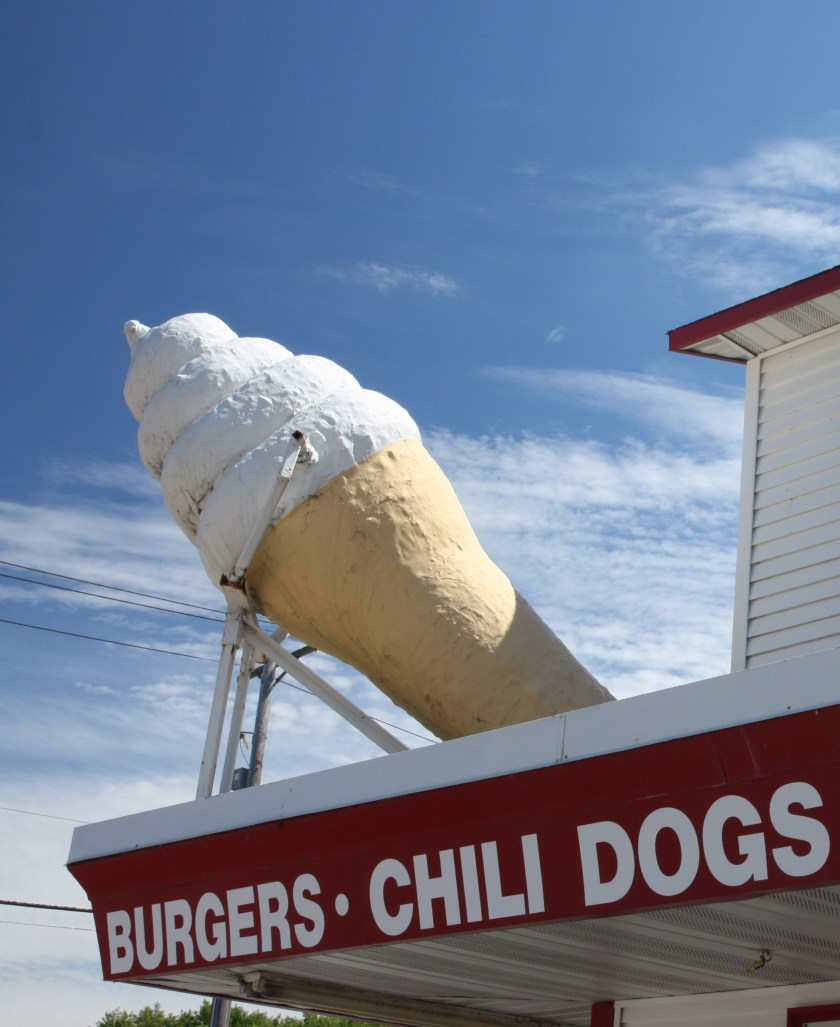 The giant ice cream cone is one of the convivial aspects of Conny's.