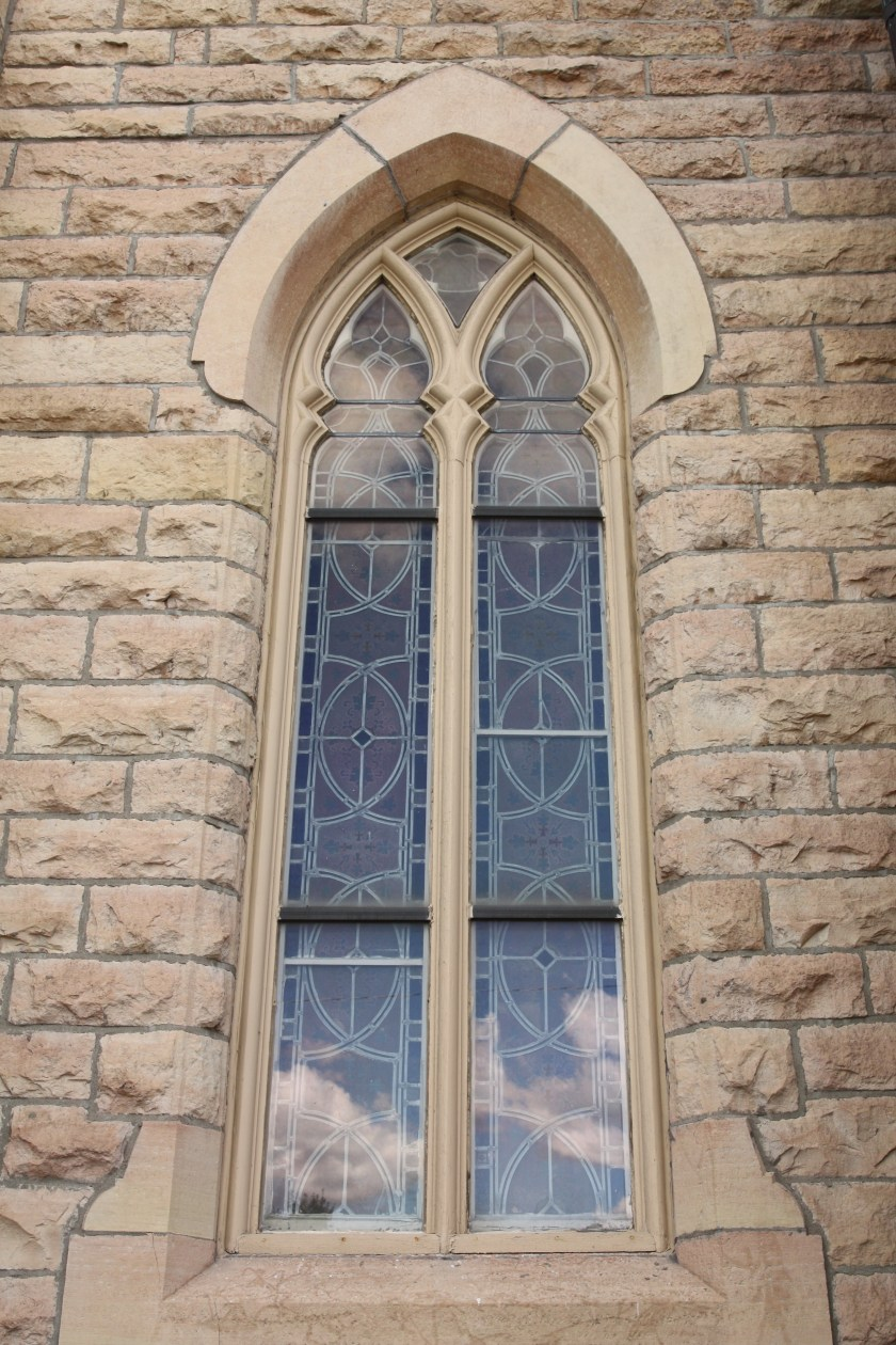 One of the lovely windows in the original First Baptist building.