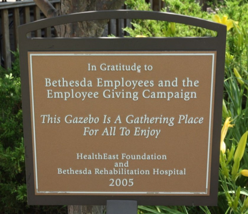 A plaque recognizes financial contributions of the Bethesda staff members.