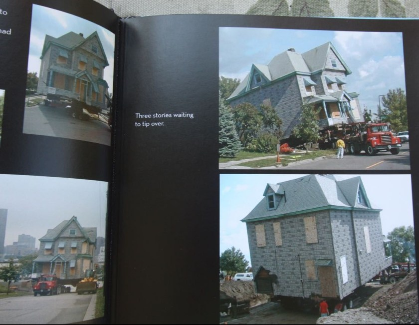 Bonnie created a book documenting the improvements to their house. These pages show how the house as it was moved from its old foundation and moved to Como Avenue.