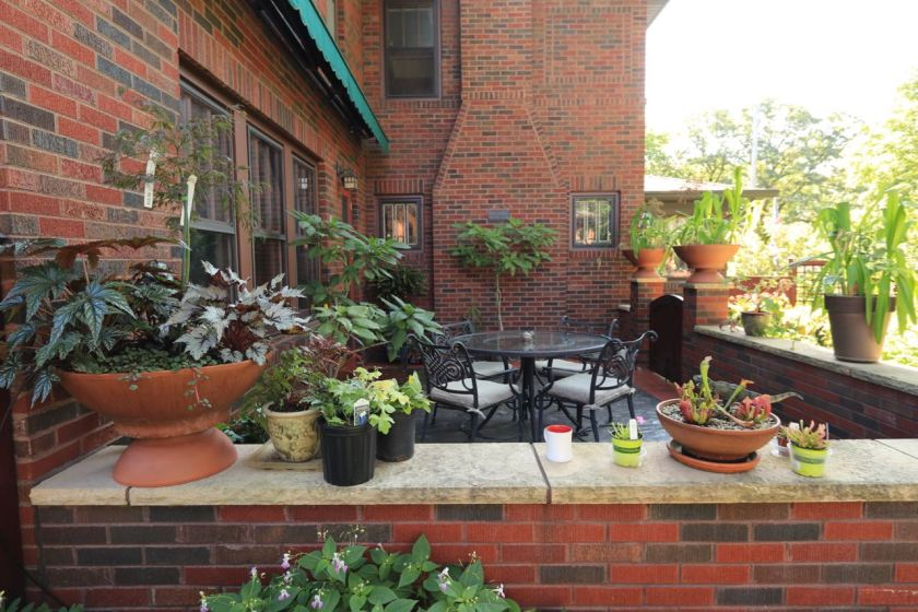 Planters with many varieties of foliage decorate the patio.