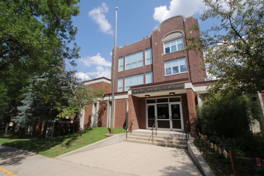 Cherokee Heights opened to students in 1925, although it was called Bryant School then. The three story structure behind the entrance is the original 1925 building.