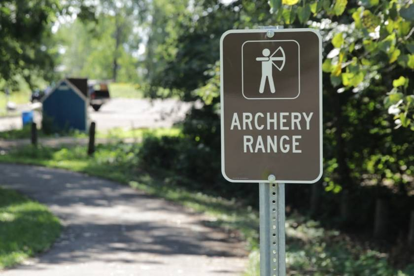 There's a downside or two to locating an archery range so near a bike trail.