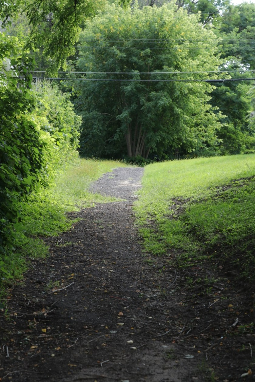A path south out of the former Mounds Park.