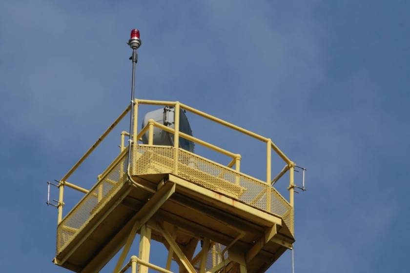 In the '90s the beacon was restored to its distinctive yellow and black color scheme. The Indian Mounds Park Airway Beacon, one of only a few that remain, continues to flash its rotating light every five seconds.