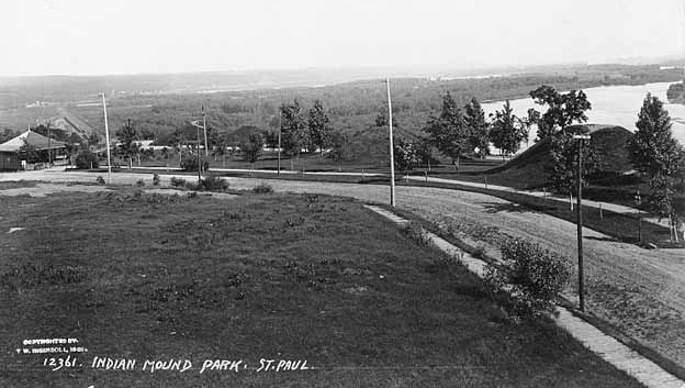 In this circa 1905 photo of Indian Mounds Regional Park, looking southeast, the Mississippi River is on the right. The park shelter is on the far left-middle. Courtesy Minnesota Historical Society