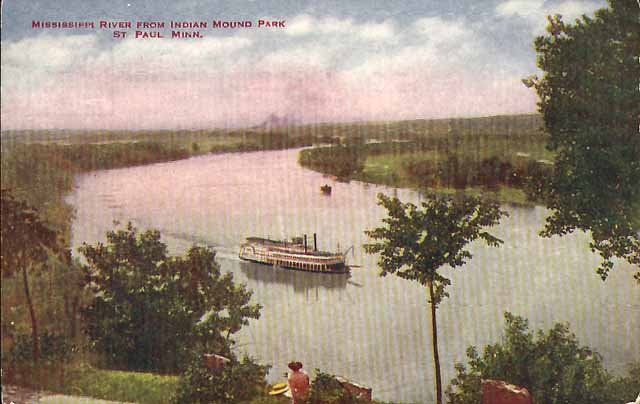 A postcard from about 1908 shows the view of the Mississippi River from the bluffs of Indian Mounds Park. Courtesy Minnesota Historical Society