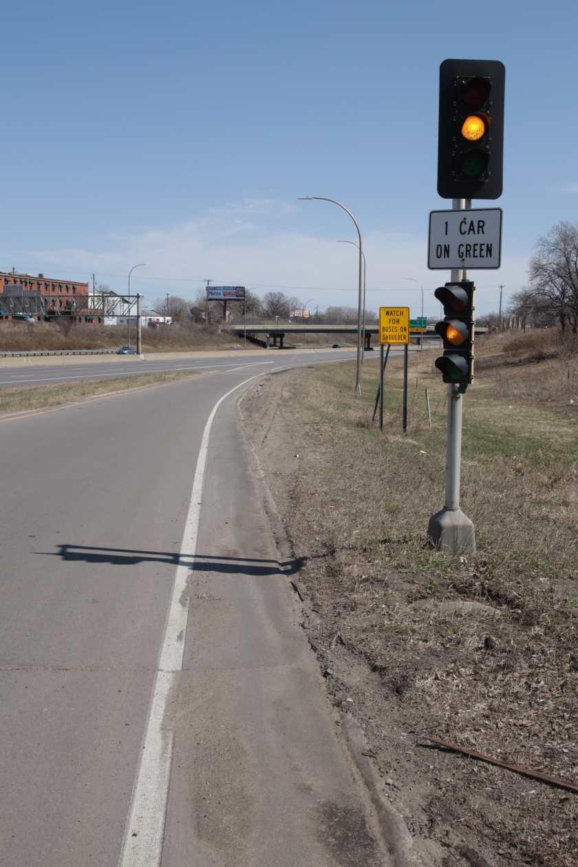 Gazing east along the on-ramp, I-94 remained lightly traveled.