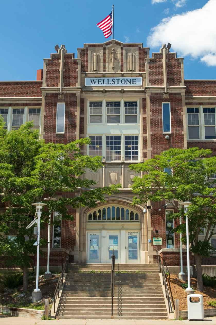 The main entrance of Paul & Sheila Wellstone Elementary School, previously Washington Junior High, and originally Washington High.