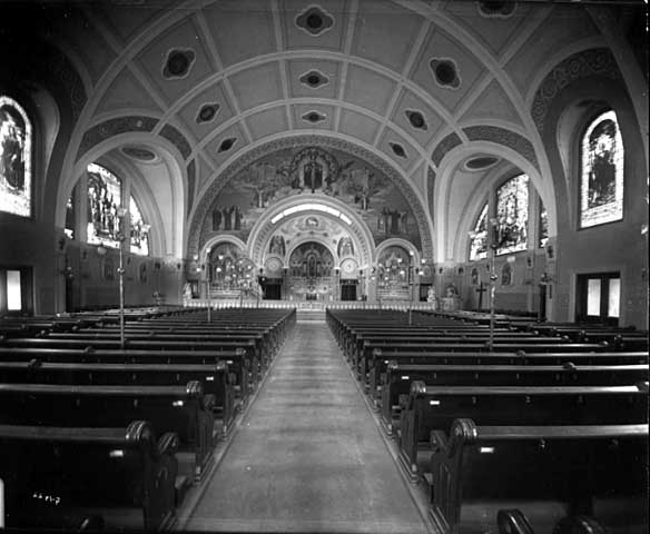 The church has no basement and the floor angles slightly upward from front to back providing everyone with a good view of the altar.
