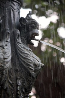 An up-close look at one of the fountain's gargoyles.