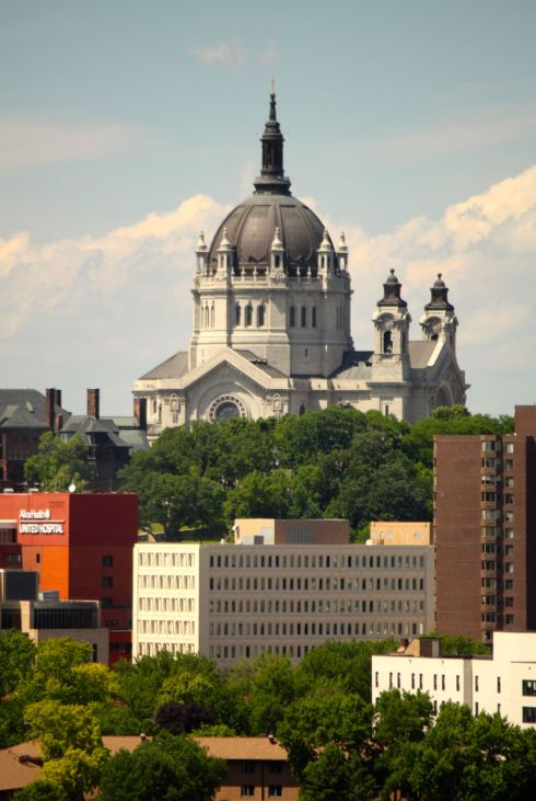 The Cathedral dominates the scene, overlooking several medical buildings at the United and Childrens Hospital campus.