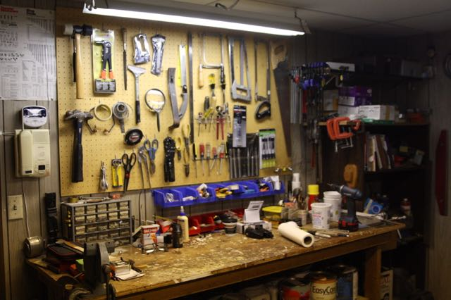 Some of the tools in Dick's arsenal, neatly arranged in his basement workshop.