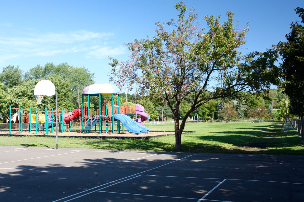 Being kitty-corner from Linwood Monroe Arts School, Monroe Memorial Park and its swings and basketball courts doubles as a school and neighborhood playground.