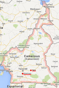 The small city of Mbalmayo is 50 kilometers south of Yaoundé, the capital of Cameroon. (Map courtesy of Ulule.com)