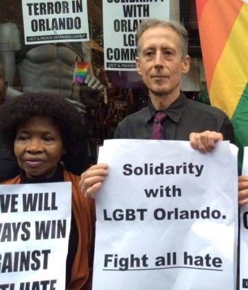 Peter Tatchell at London memorial for LGBT victims of shootings at Pulse nightclub in Orlando, Florida in 2016.