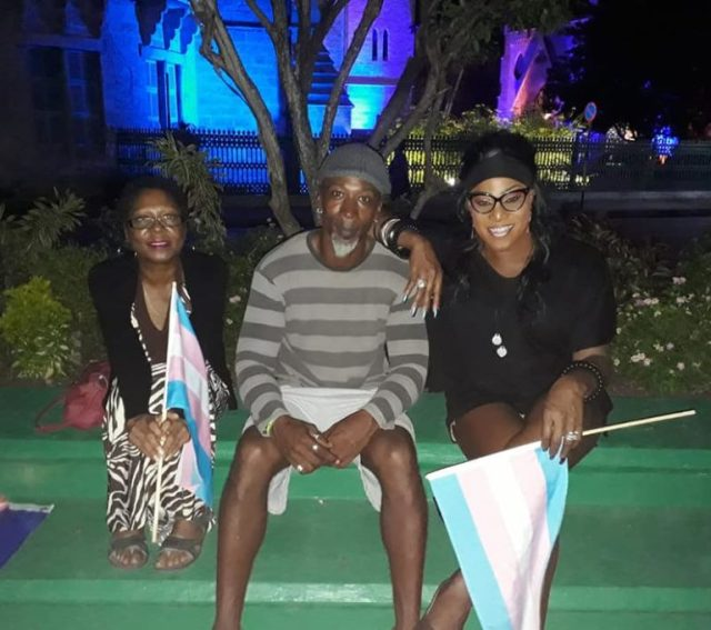 Joining the ceremony of trans remembrance were (from left to right): Nalita Gajadhar from the National Organisation for Women (NOW); Troy Hunte, a local ally to the LGBT community; and Didi Winston, veteran Trans advocate and cultural icon in Barbados. (Photo courtesy of Alexa Hoffman)
