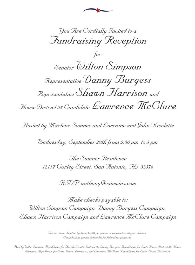 Simpson Burgess Harrison McClure fundraiser invitation