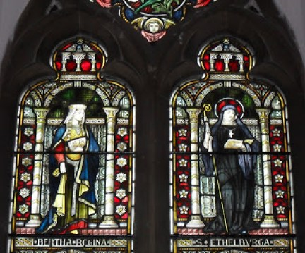 Queen Bertha and her daughter Queen Ethelburga of Kent who married Edwin the King of Northumbria, as his second wife. St. Martin's Church, Canterbury